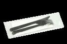 """Комплект """"ПРЕМИУМ"""" (вилка черная, нож черный, салфетка белая)"""
