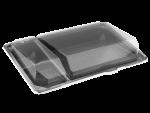 Пластиковый контейнер 3-секц. для суши c крышкой 220мм/148мм/40мм (КД-011)