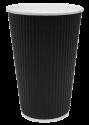 """Гофрированный бумажный стакан 450 мл """"Черный"""""""