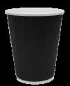 """Гофрированный бумажный стакан 350 мл """"Черный"""""""
