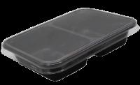 Лоток пластиковый с крышкой 2-секц  50/50 черный