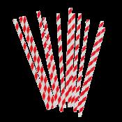 Трубочки бумажные 200mm*6mm КРАСНО-БЕЛЫЕ